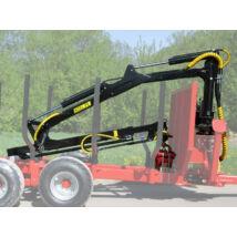K.T.S Erdészeti hidraulikus rönkfogó daru traktorra 7.5m kitámasztó láb nélkül
