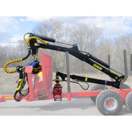 K.T.S Erdészeti hidraulikus rönkfogó daru traktorra 6.7m kitámasztó hidraulikus lábbal
